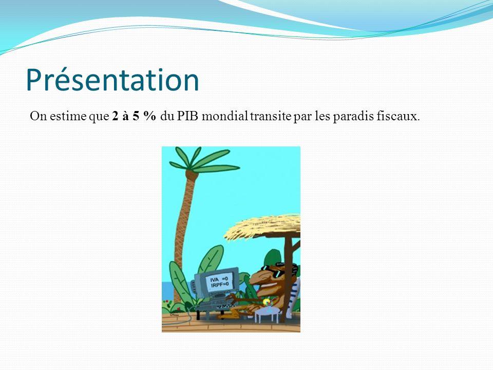 Présentation On estime que 2 à 5 % du PIB mondial transite par les paradis fiscaux.