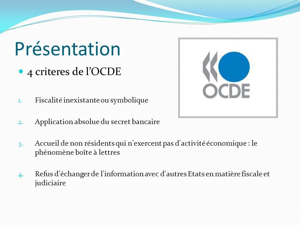 Présentation 4 criteres de l'OCDE Fiscalité inexistante ou symbolique
