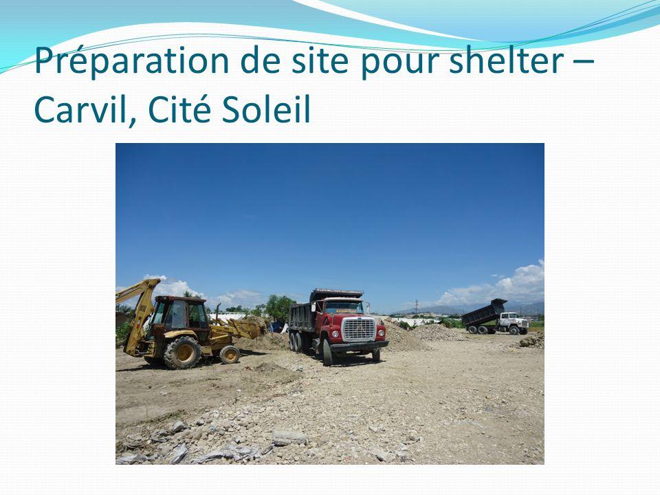 Préparation de site pour shelter – Carvil, Cité Soleil
