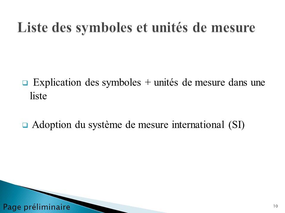 Liste des symboles et unités de mesure