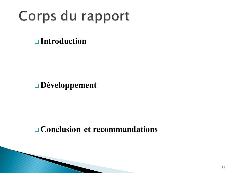 Corps du rapport Introduction Développement