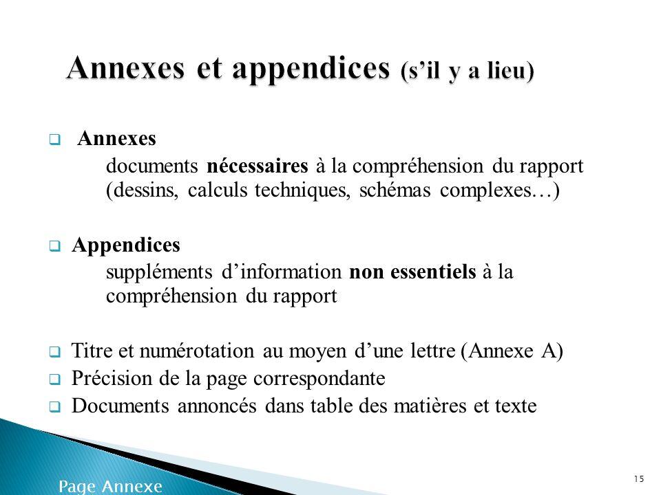 Annexes et appendices (s'il y a lieu)