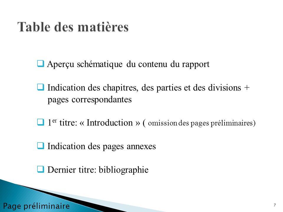 Table des matières Aperçu schématique du contenu du rapport