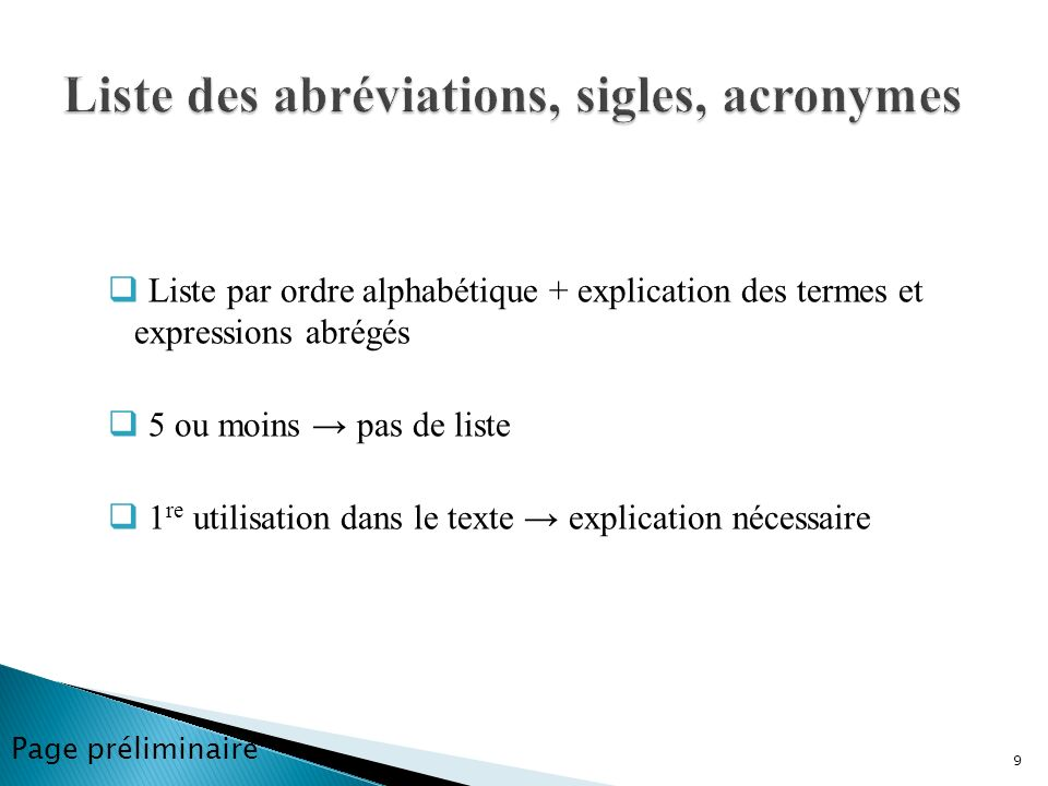Liste des abréviations, sigles, acronymes