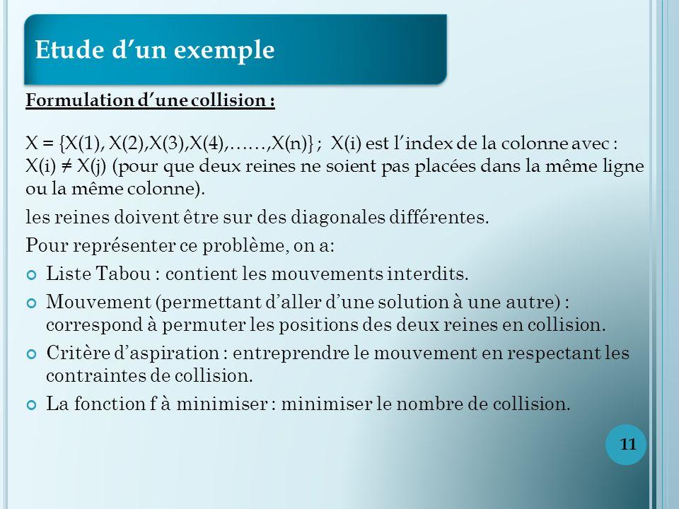 Etude d'un exemple Formulation d'une collision :