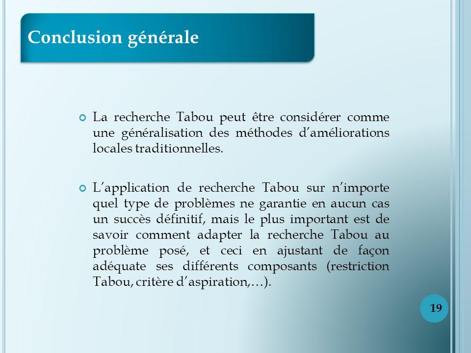 Conclusion générale La recherche Tabou peut être considérer comme une généralisation des méthodes d'améliorations locales traditionnelles.