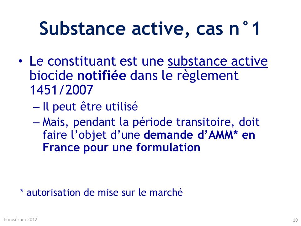 Substance active, cas n°1