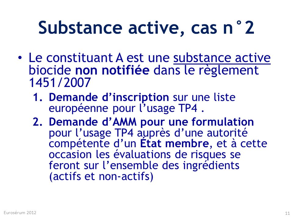 Substance active, cas n°2
