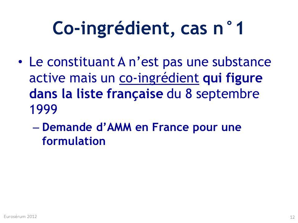 Co-ingrédient, cas n°1 Le constituant A n'est pas une substance active mais un co-ingrédient qui figure dans la liste française du 8 septembre 1999.
