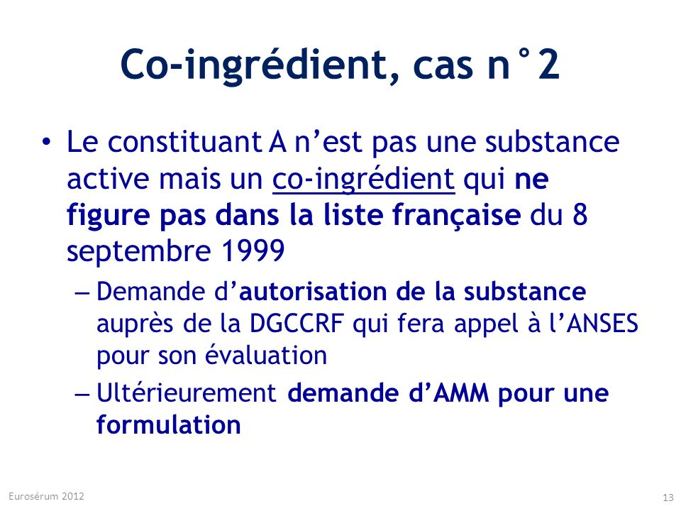 Co-ingrédient, cas n°2