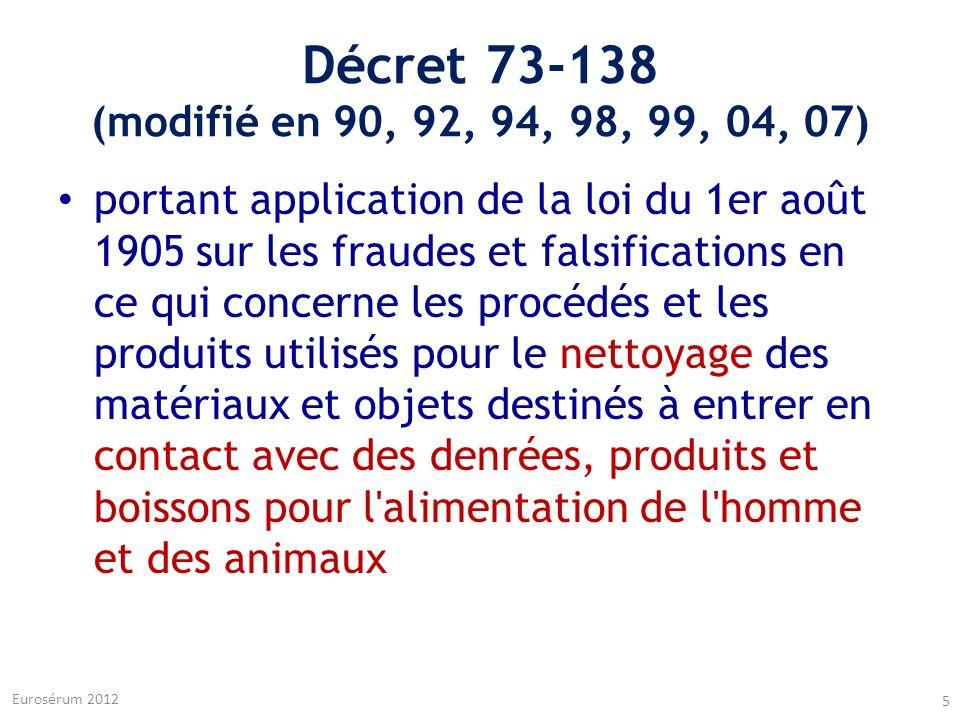 Décret 73-138 (modifié en 90, 92, 94, 98, 99, 04, 07)