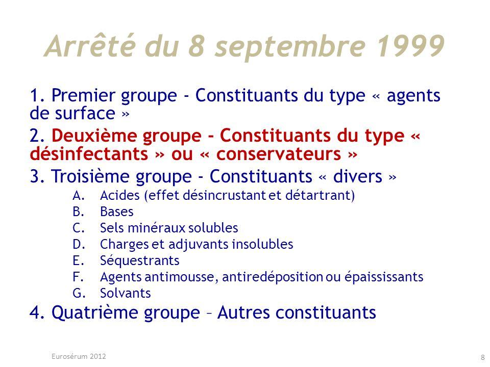 Arrêté du 8 septembre 1999 1. Premier groupe - Constituants du type « agents de surface »