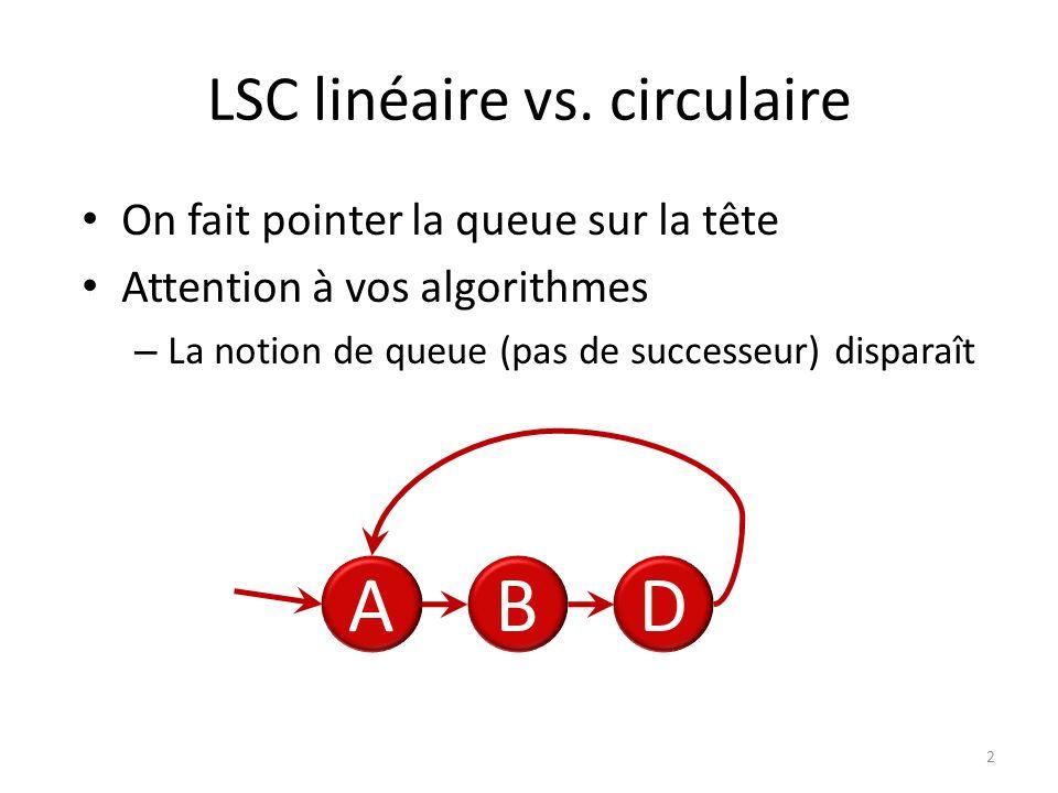 LSC linéaire vs. circulaire
