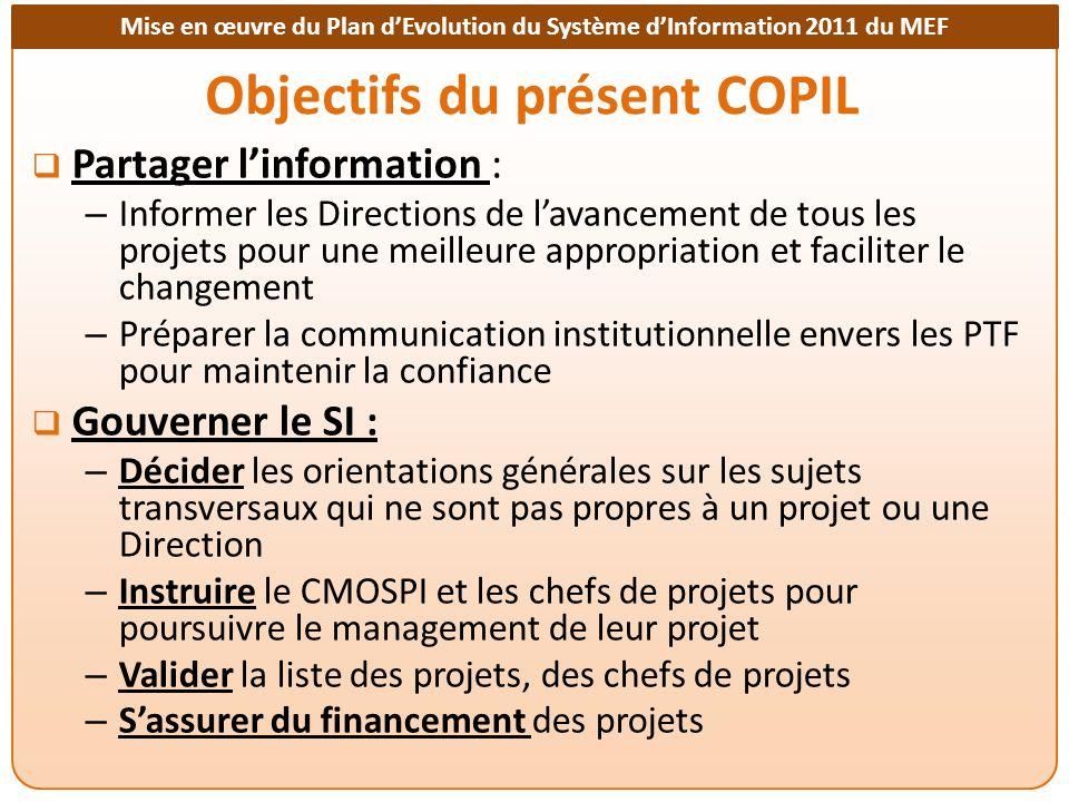 Objectifs du présent COPIL