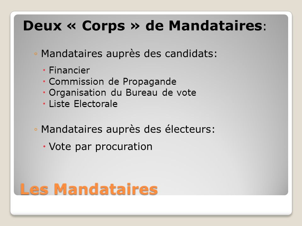 Les Mandataires Deux « Corps » de Mandataires: