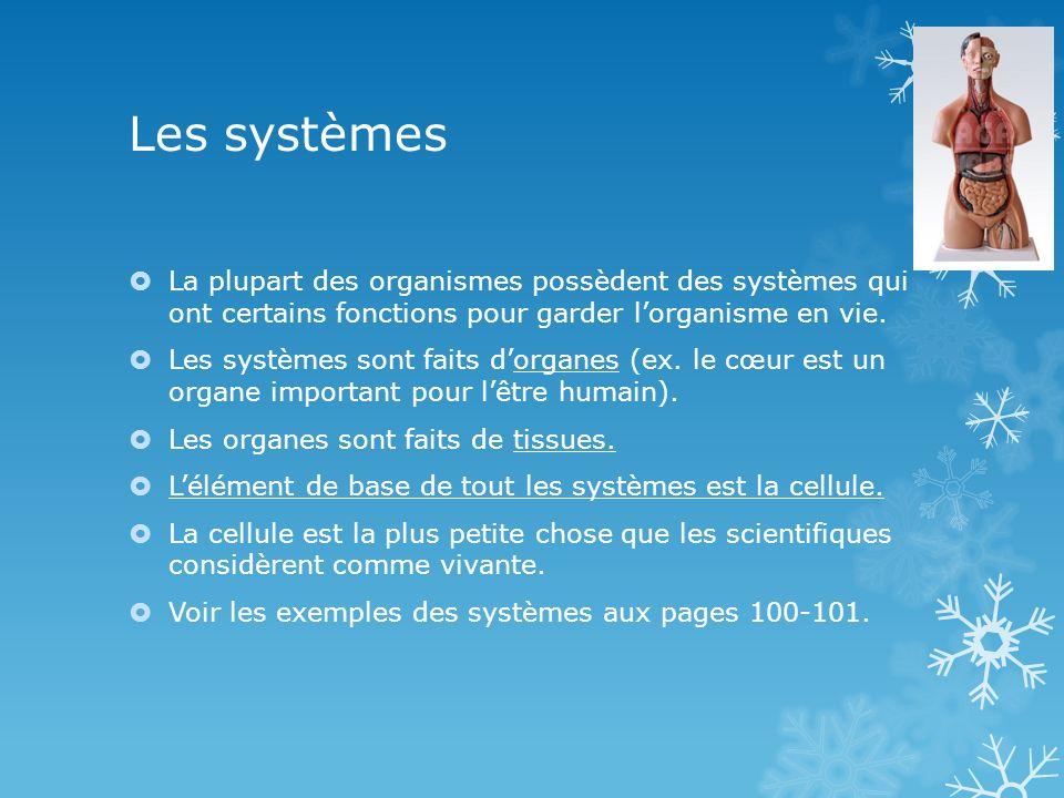 Les systèmes La plupart des organismes possèdent des systèmes qui ont certains fonctions pour garder l'organisme en vie.