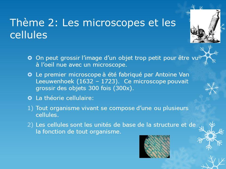 Thème 2: Les microscopes et les cellules