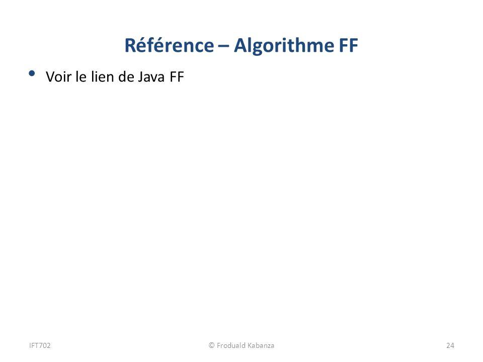 Référence – Algorithme FF