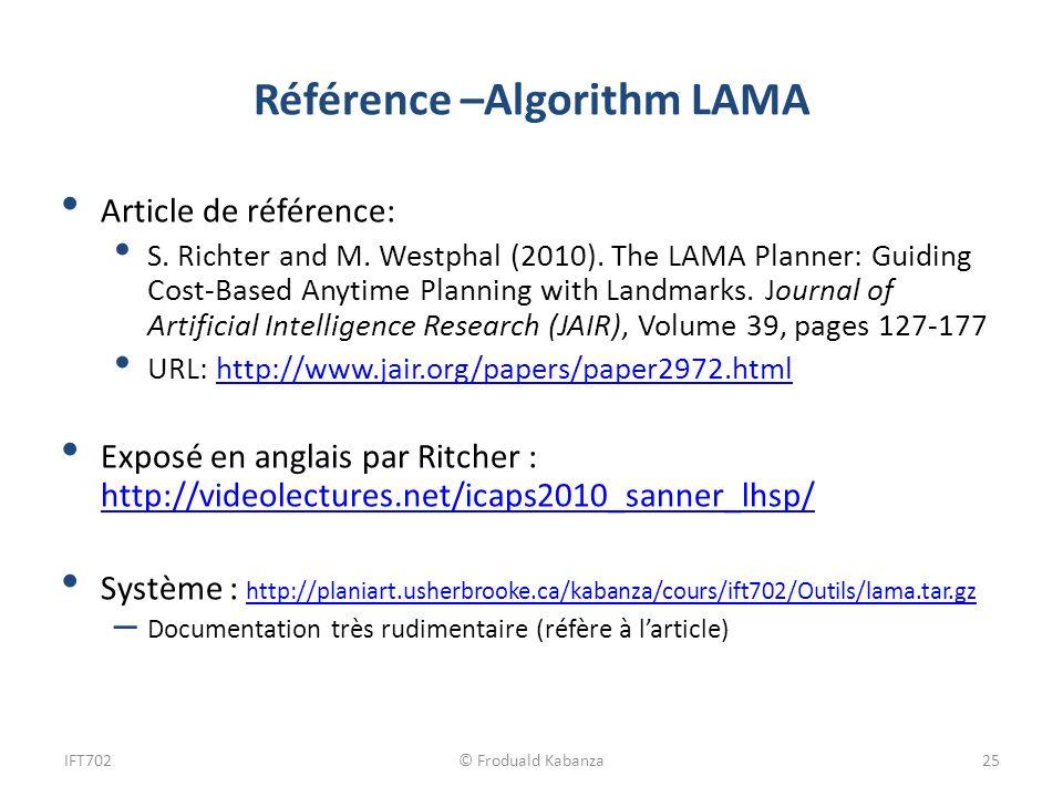 Référence –Algorithm LAMA