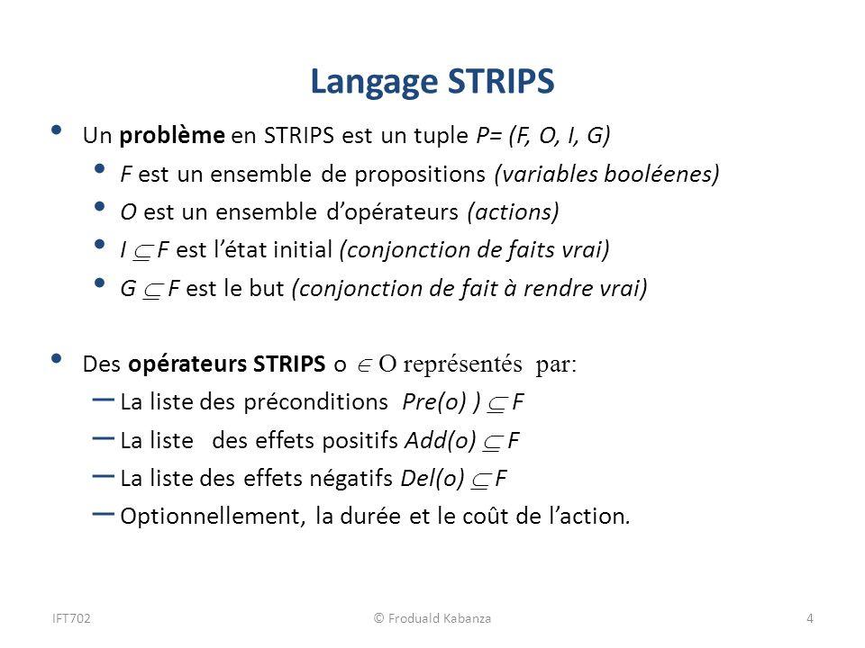 Langage STRIPS Un problème en STRIPS est un tuple P= (F, O, I, G)