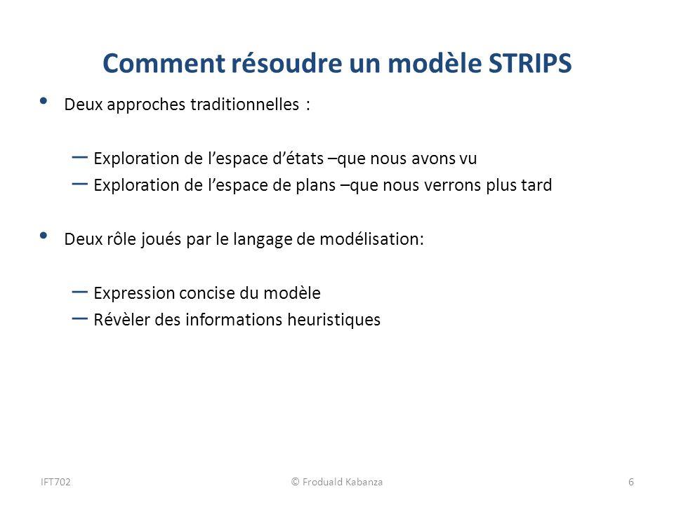 Comment résoudre un modèle STRIPS