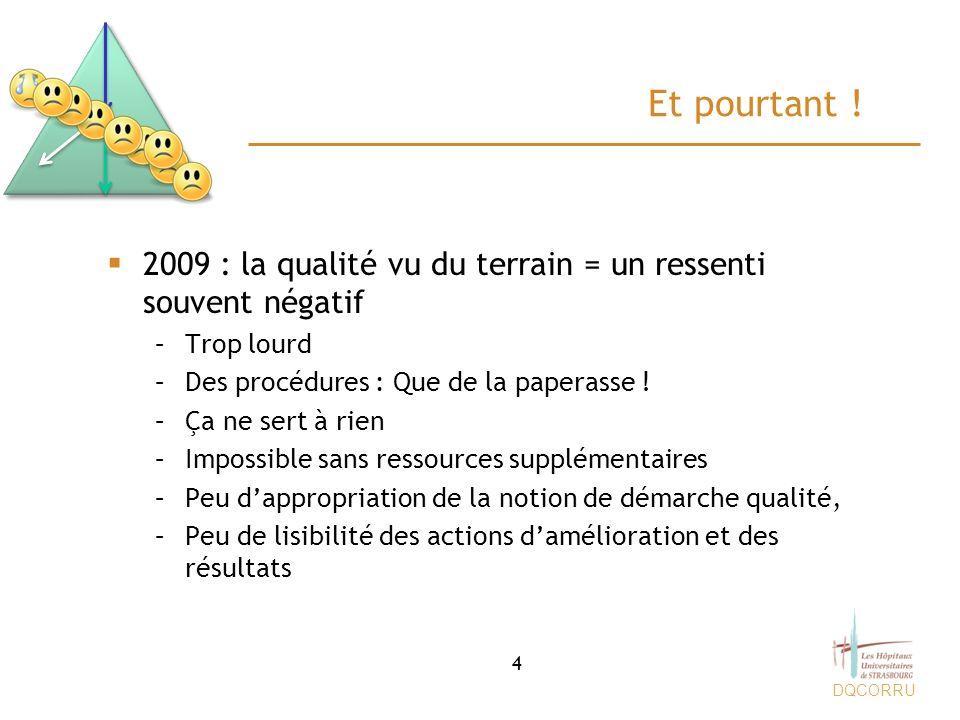 Et pourtant ! 2009 : la qualité vu du terrain = un ressenti souvent négatif. Trop lourd. Des procédures : Que de la paperasse !
