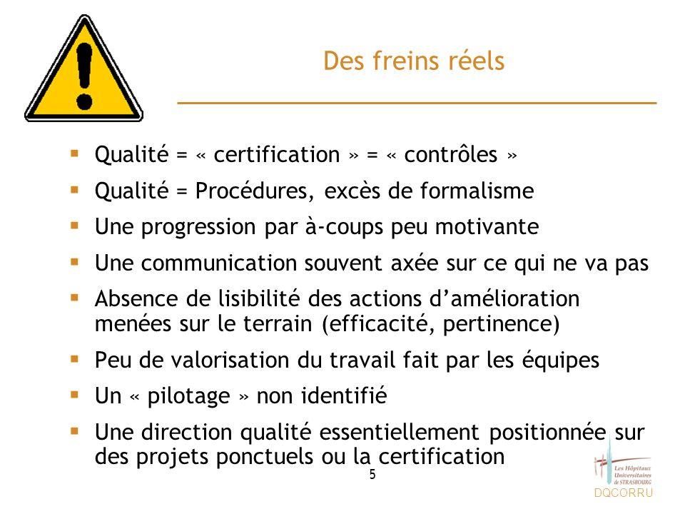 Des freins réels Qualité = « certification » = « contrôles »