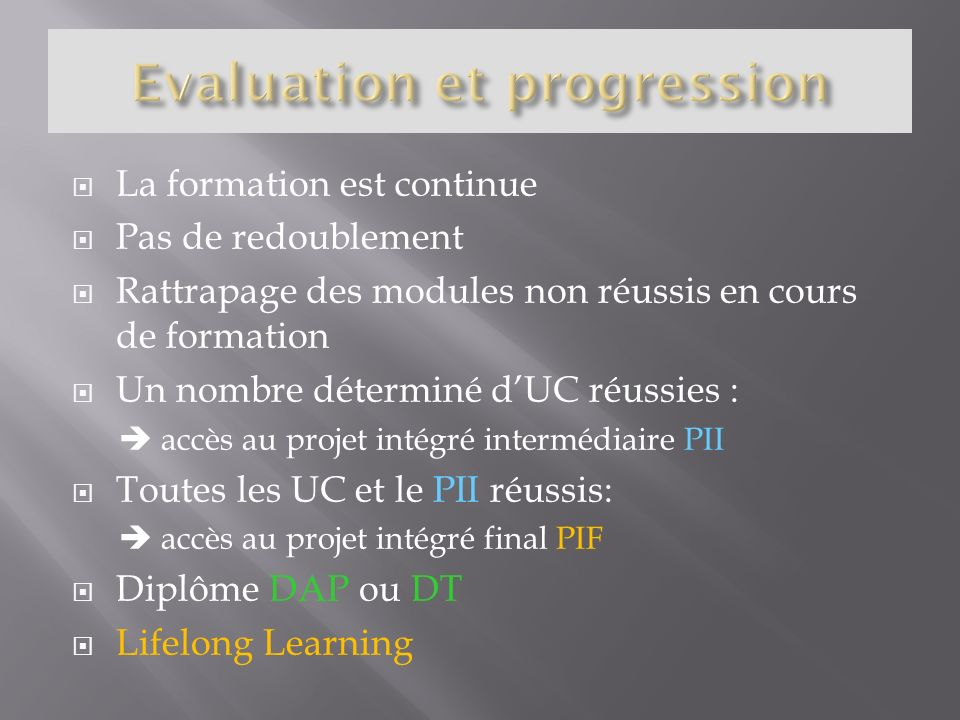 Evaluation et progression