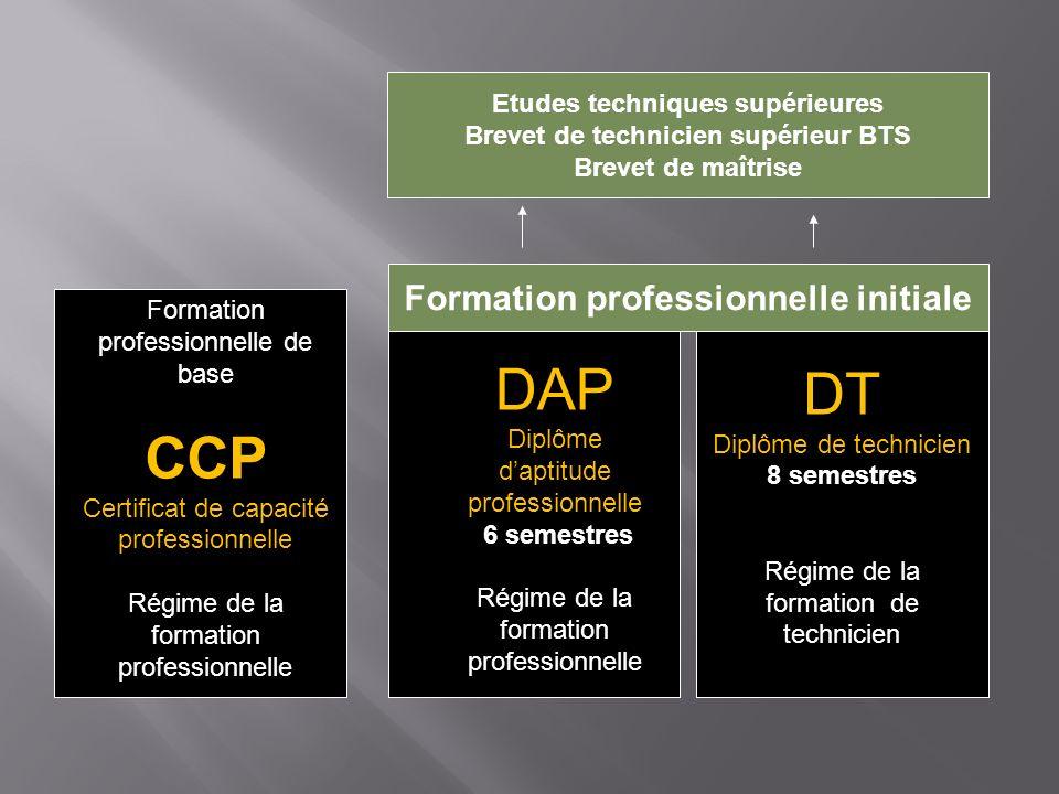 DT DAP CCP Formation professionnelle initiale