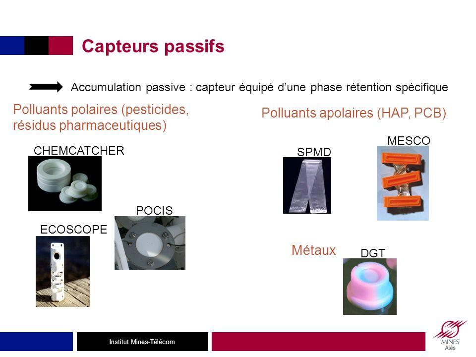 Capteurs passifs Accumulation passive : capteur équipé d'une phase rétention spécifique. Polluants polaires (pesticides, résidus pharmaceutiques)