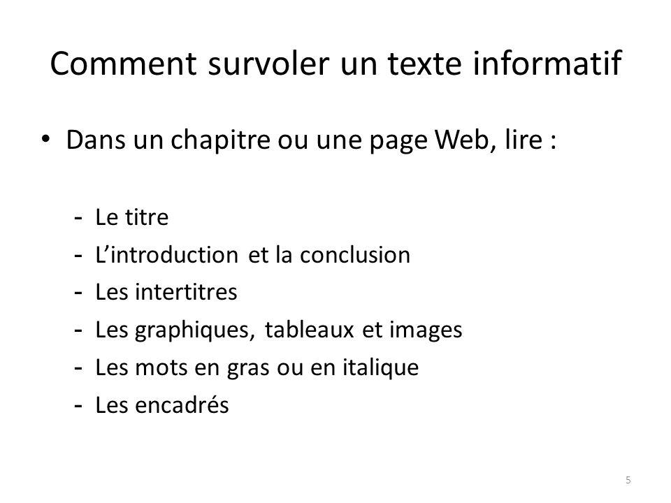 Comment survoler un texte informatif