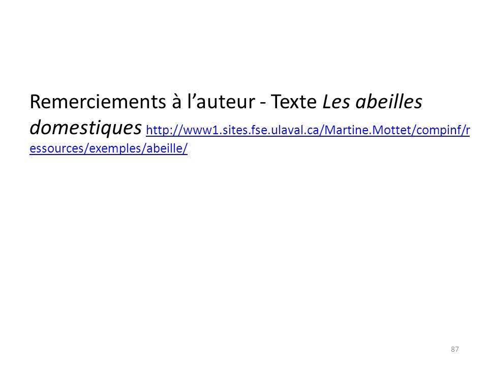 Remerciements à l'auteur - Texte Les abeilles domestiques http://www1