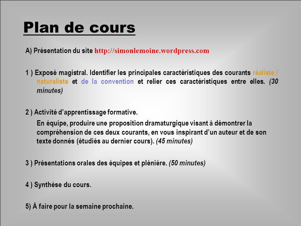 Plan de cours A) Présentation du site http://simonlemoine.wordpress.com.