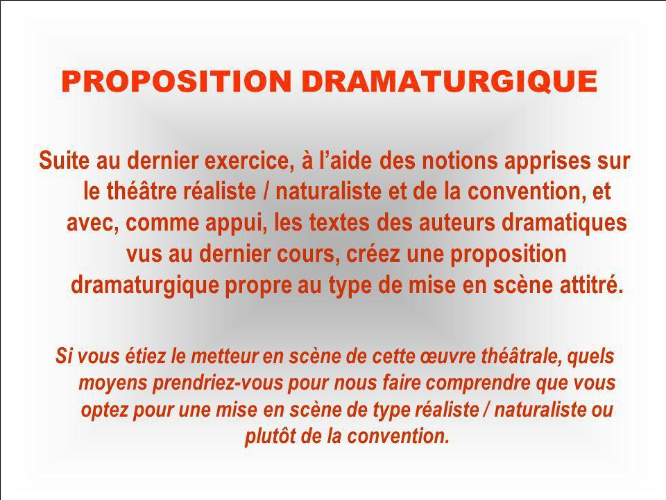 Proposition dramaturgique