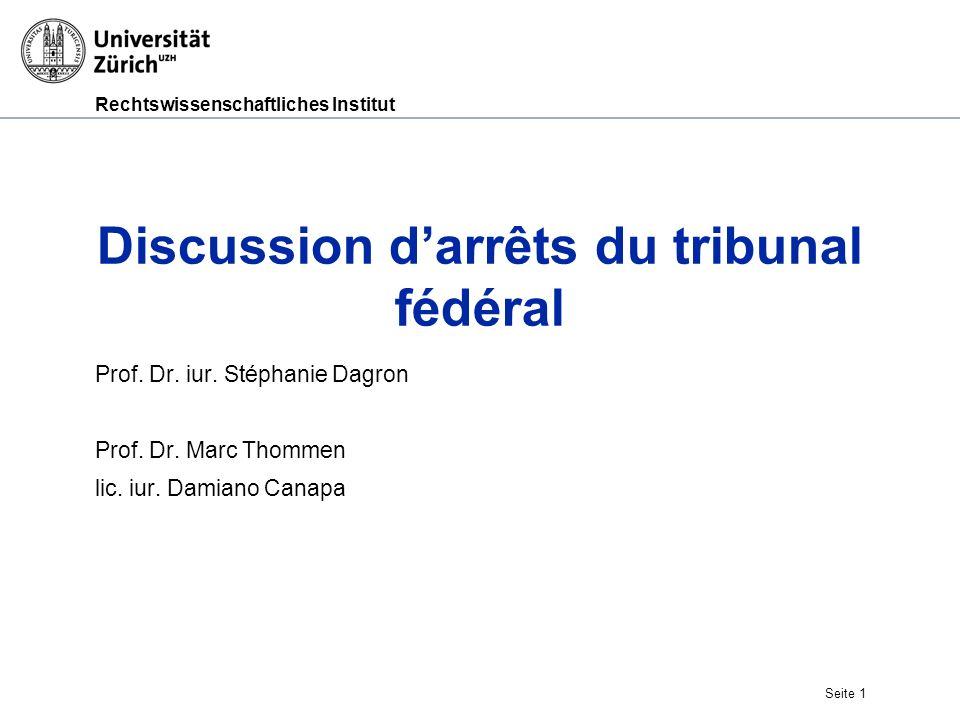 Discussion d'arrêts du tribunal fédéral