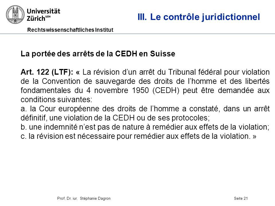 III. Le contrôle juridictionnel