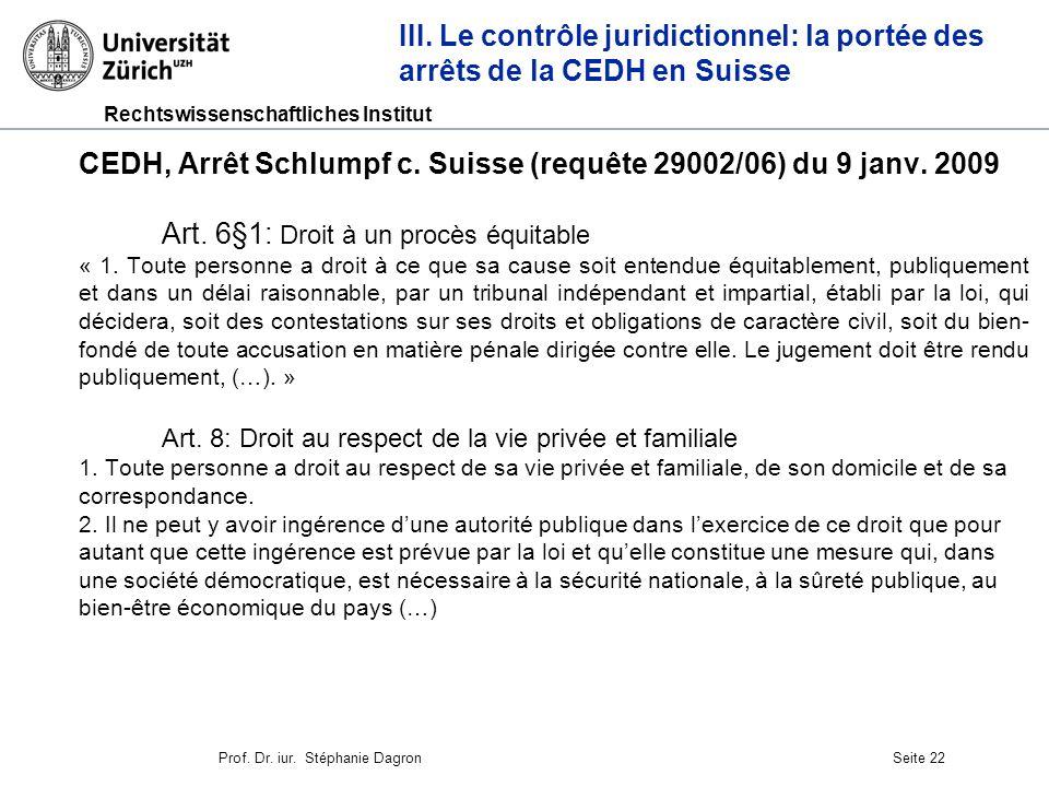 CEDH, Arrêt Schlumpf c. Suisse (requête 29002/06) du 9 janv. 2009