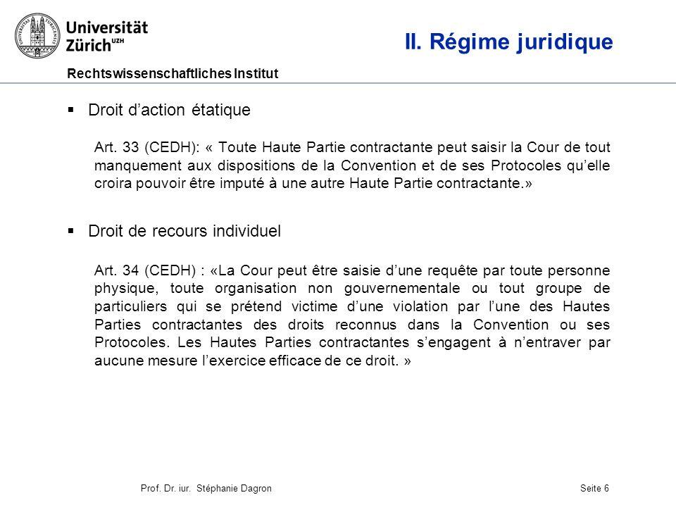 II. Régime juridique Droit d'action étatique
