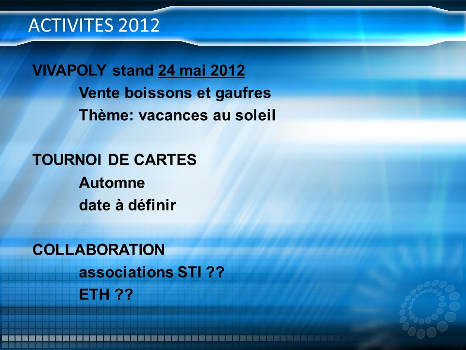 ACTIVITES 2012 VIVAPOLY stand 24 mai 2012 Vente boissons et gaufres