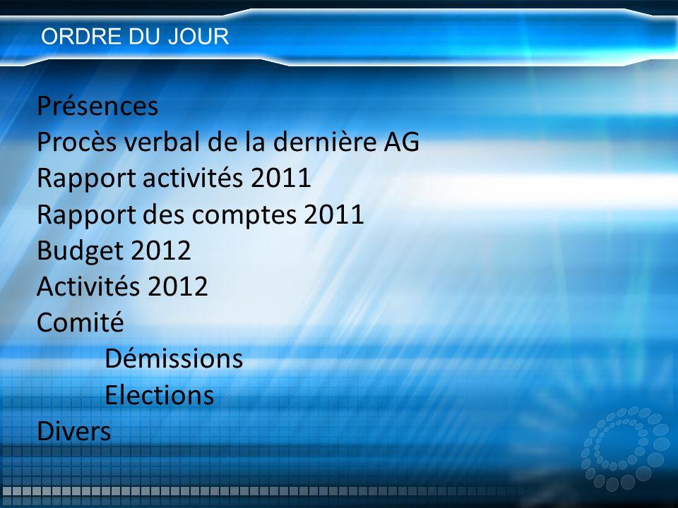 Procès verbal de la dernière AG Rapport activités 2011