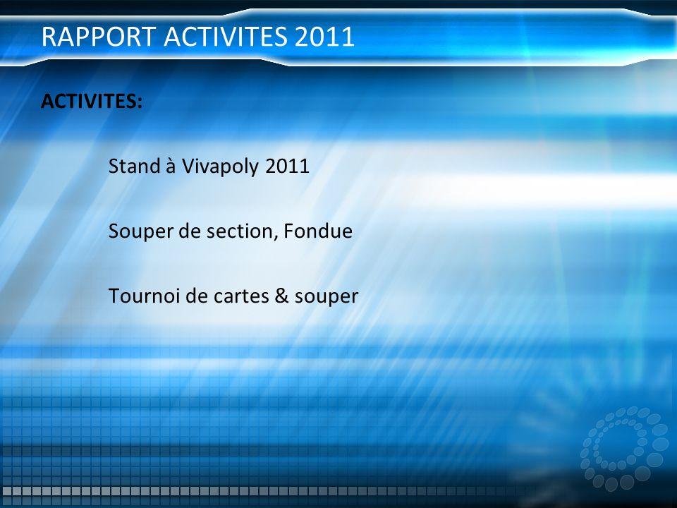 RAPPORT ACTIVITES 2011 ACTIVITES: Stand à Vivapoly 2011 Souper de section, Fondue Tournoi de cartes & souper