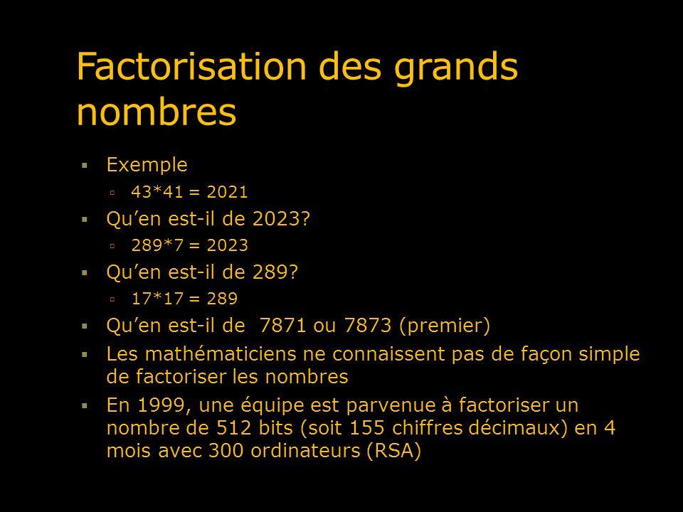 Factorisation des grands nombres