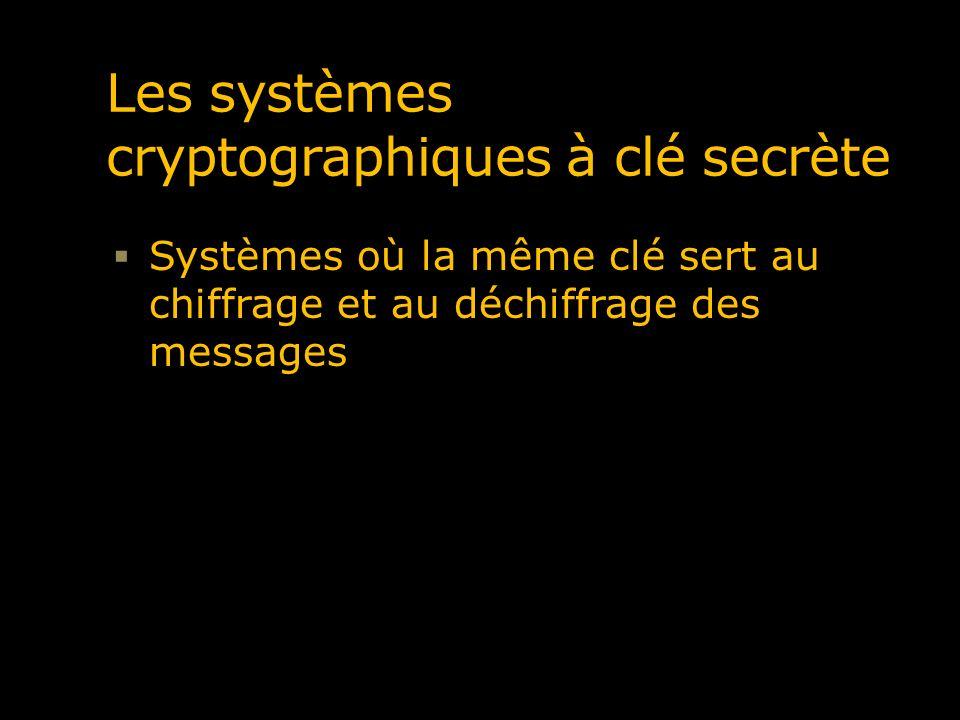 Les systèmes cryptographiques à clé secrète