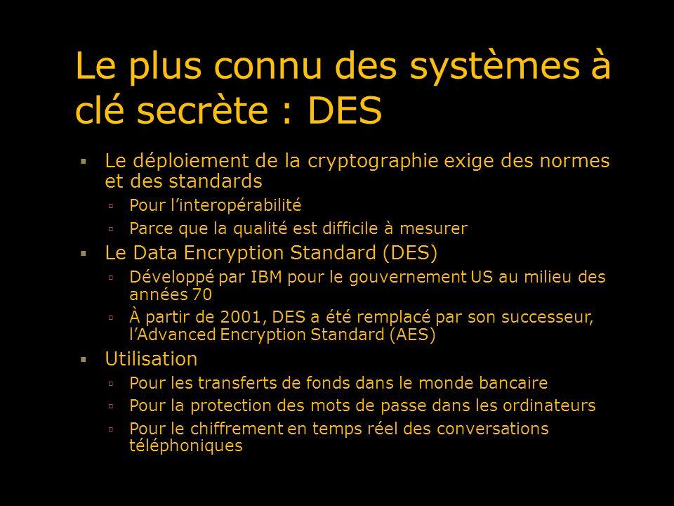 Le plus connu des systèmes à clé secrète : DES