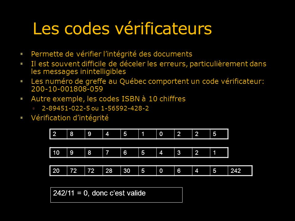 Les codes vérificateurs