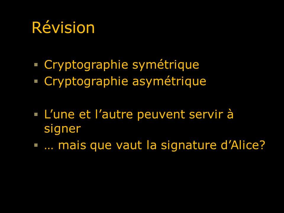 Révision Cryptographie symétrique Cryptographie asymétrique