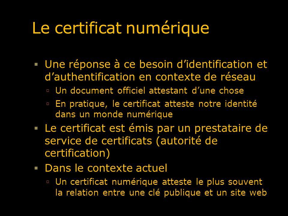Le certificat numérique