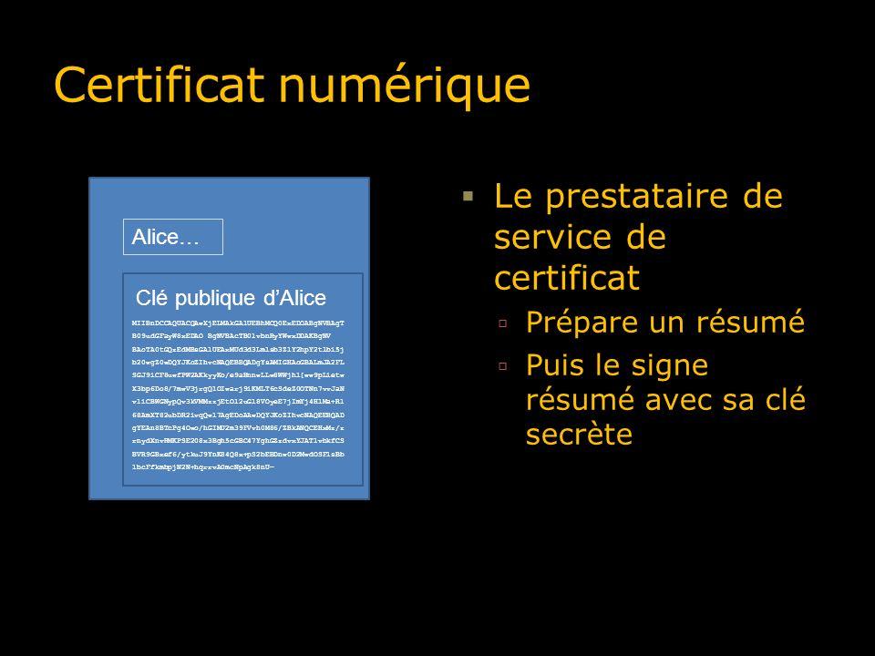 Certificat numérique Le prestataire de service de certificat