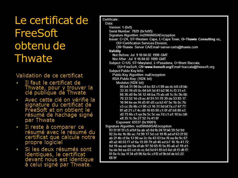 Le certificat de FreeSoft obtenu de Thwate