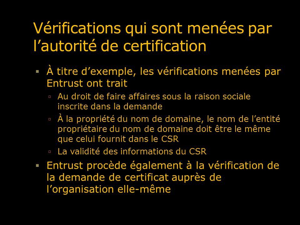 Vérifications qui sont menées par l'autorité de certification